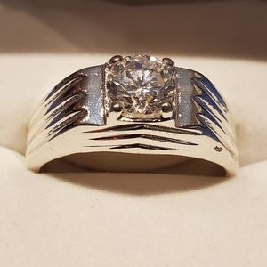 Vintage Crystal Diamond Sterling Silver Men's Ring